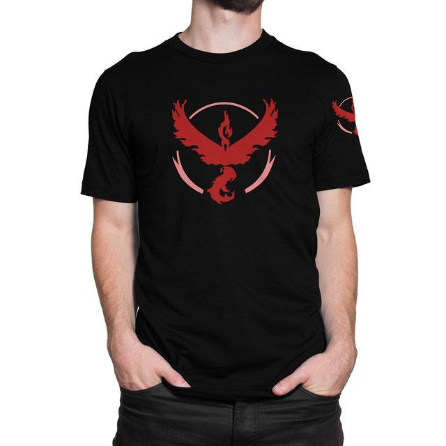 Officielles Pokémon Go Team Wagemut (Rot) T-Shirt (Lavados) - www.pokegehilfe.de